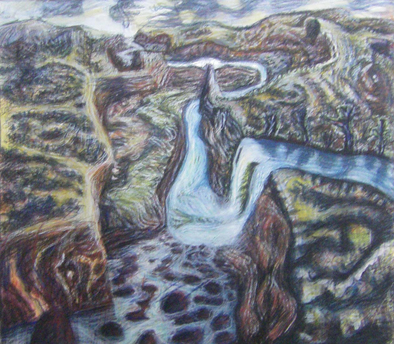 Crooked River gouache & pastel-on-paper 40x40cm 2015 $500
