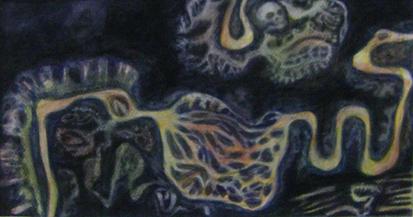 Dark Blue River gouache-on-paper 20x40cm 2015 $300