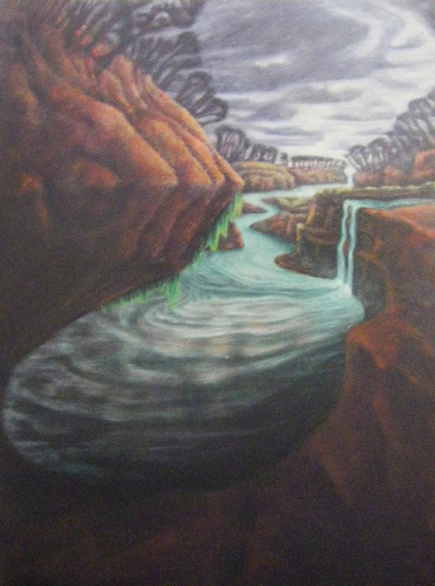 Crooked River Falls oil-on-canvas 100x70cm $1000